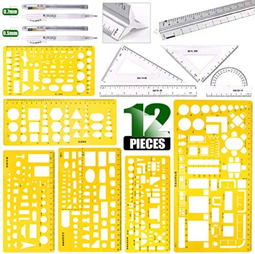 Keadic 12 Pieces Plastic Drawing Template Ruler Kit with Aluminum Architect Scale Measuring product image