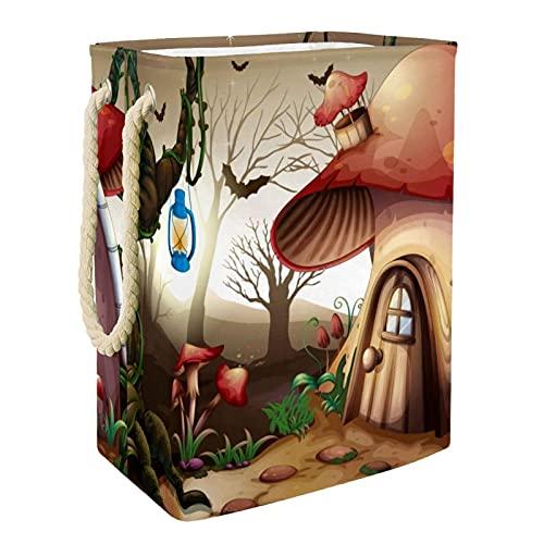 Cesto De La Ropa Casa De Setas Caja De Almacenamiento De Ropa Sucia Cesto De Lavado Delgado 49x30x40.5 cm