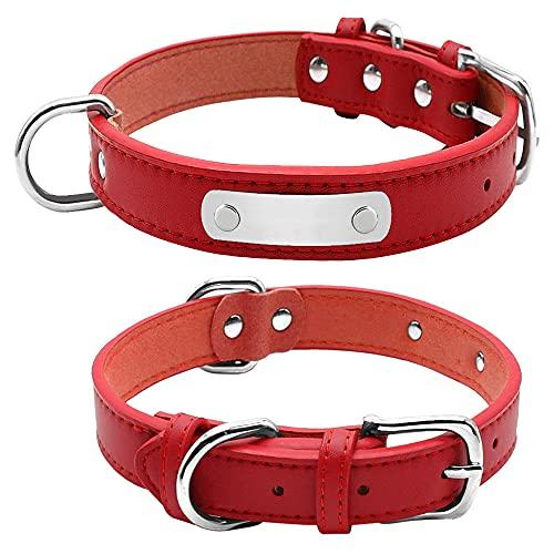 Collar de Perro Personalizado Grande y Duradero, Collares Acolchados de Cuero de PU para Mascotas para Perros pequeños, medianos y Grandes, Gato, Rojo, L