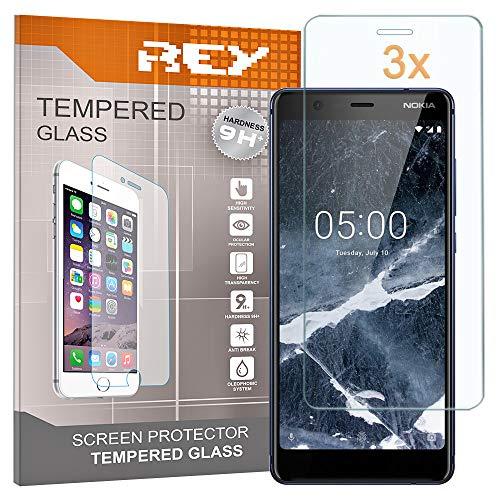 REY Pack 3X Panzerglas Schutzfolie für Nokia 5.1 / Nokia 5 2018, Bildschirmschutzfolie 9H+ Festigkeit, Anti-Kratzen, Anti-Öl, Anti-Bläschen
