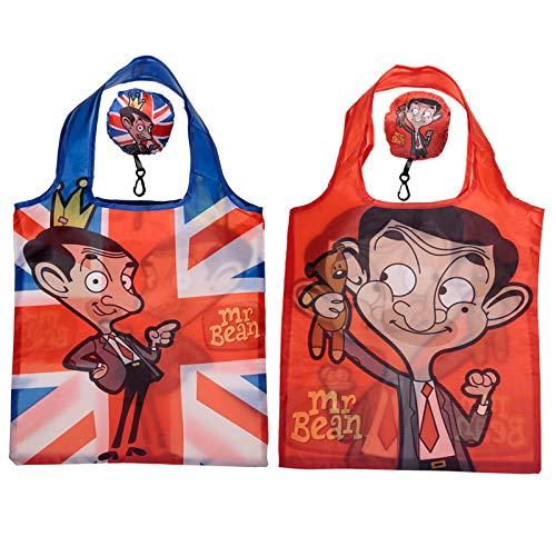 Puckator Mr Bean - Faltbare Einkaufstasche - Mr. Bean, Teddy, Union Jack - (Rot)
