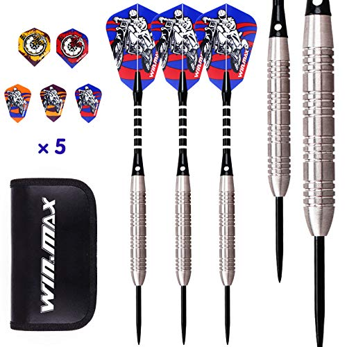 WIN.MAX Darts, Tungsten Steel Tip Set 24/22 Grams 90% 80% Tungsten (80% Tungsten 24 Grams)
