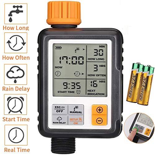 johgee Garden Programador de riego automático, IP65, Resistente al Agua y sin Fugas, Reloj de riego con riego programado [Clase de eficiencia energética A++]