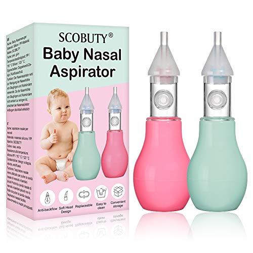 Aspiratore Nasale Neonato,Nasal Aspirator,Aspiratore Nasale,Detergente Nasale Sicuro Riutilizzabile da 2 pezzi per Bambini Piccoli