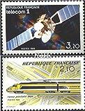 Prophila Collection Francia Michel.-No..: 2459,2460 (Completa.edición.) 1984 Satélite, TGV-Post Transporte (Sellos para los coleccionistas) vehículos sobre raíles / funicular