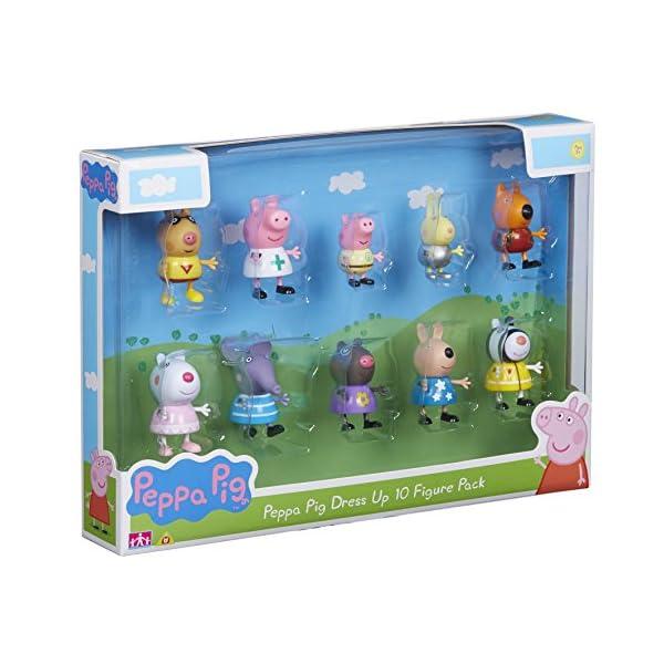 Peppa Pig 06668 - Pack de 10 figuritas disfrazadas Multicolor, 4 x 5 x 5,5 cm