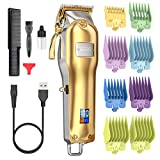 Hair Clippers for Men,Romanda Mens Hair Clippers for Hair Cutting Professional,Cordless &Cord Rechargeable Electric Haircut Clippers for Home and Barbers, LED Display,Gold