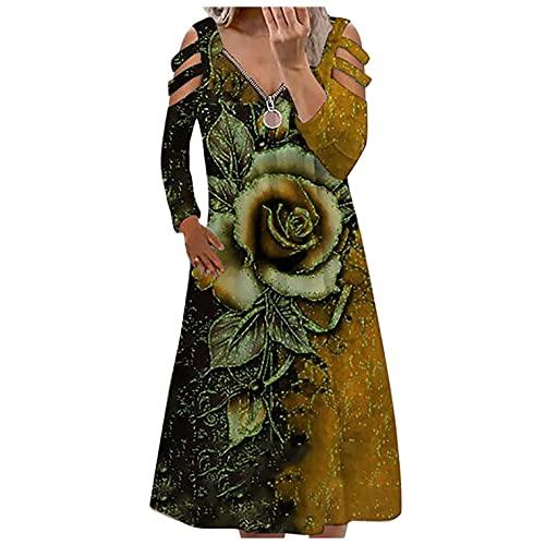 BAIGEE Blusenkleid Damen Langarm Kalte Schulter V-Ausschnitt Reißverschluss Elegantes Boho Kleid Sommerkleid Cocktailkleid Herbst Tunikakleid Winterkleid V-Ausschnitt Hemdkleid Kleider Abendkleid