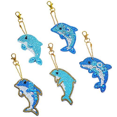 VETPW 5 Piezas 5D DIY Delfín Colgante Llavero Pintura Diamante, Doble Cara Diamond Painting Keychain Kit Completo Punto de Cruz Diamante Arts Crafts para Monedero Mochila Bolso Decoración