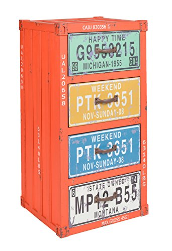 ts-ideen Mobiletto Cassettiera stile Industriale 38x77 cm color arancione con cassetti a trama effetto metallo invecchiato