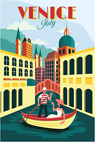 EzPosterPrints - Retro World Famous City Posters - Decorative, Vintage, Retro, Grunge Travel Poster Printing - Wall Art Print for Home Office - Venice, Italy - 12X18 inches