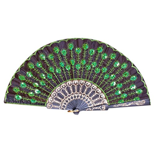 Cinhent Hand Folding Fans Adults Exquisite Peacock Pattern Hand Held Dance Fan, Embroidered Sequin Party Wedding Prom Exquisite Gifts Performance Props (B)