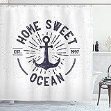 ABAKUHAUS Anker Duschvorhang, Home Sweet Ozean Zitat, Digital auf Stoff Bedruckt inkl.12 Haken Farbfest Wasser Bakterie Resistent, 175 x 200 cm, Navy Blau & weiß