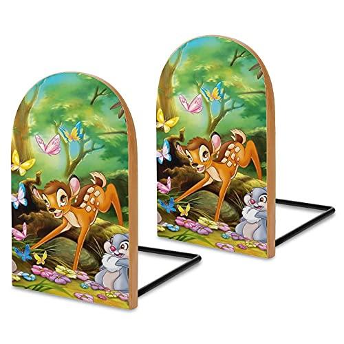 Bambi - Sujetalibros de madera y metal resistentes adecuados para niños, sujetalibros personalizados, adaptaciones decorativas para salas de estudio, oficinas