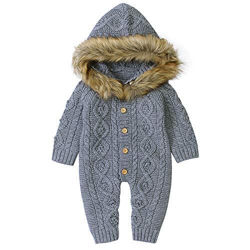 iFCOW Baby-Overall 0-3 Monate mit Kapuze und langen Ärmeln, Strickware, Grau