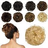 FESHFEN 100% Human Hair Bun Extension, Messy Bun Hair Piece Curly Hair Scrunchies