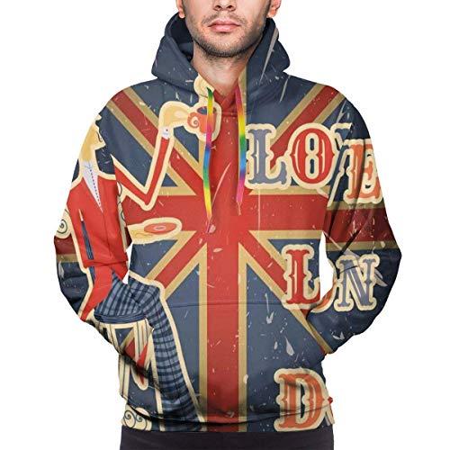 Weihnachten Hoodies für Männer Männer Hoodies Sweatershirt, ich Liebe London zitieren englischen Mann Trinken Tee auf UK Flag Hintergrund National Design, 3XL
