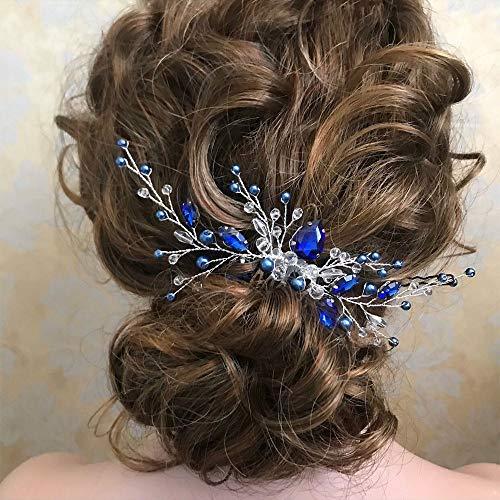 Anglacesmade Peigne à cheveux et boucles d'oreilles en cristal bleu royal avec perles bleues saphir, accessoire pour cheveux pour femme et fille