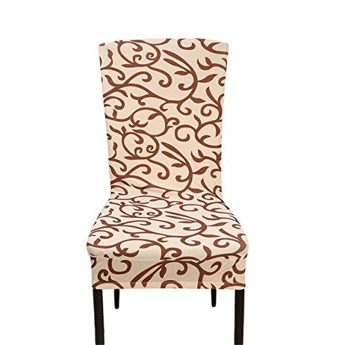 LALANG Mode Einfachheit Bezug waschbar Dining Stuhlhusse Stuhlüberzug Stuhlbezug für Hotel, Haus Dekoration, Hochzeitsessen, Esstisch Deko (Champagne braun)