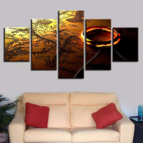 CURNEAL HD Printing Wall Art Picture 5 Pieces Lord of The Rings and Map Canvas Paintings Framework Modular Posters for Living Room Decor