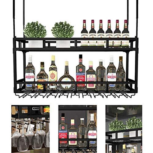 TTWUJIN Estante para vino, bar, restaurante, estante para copas de vino, arte en hierro para el hogar, techo de 2 niveles con soporte para vidrio, estante para alenamiento en el hogar, soporte multif