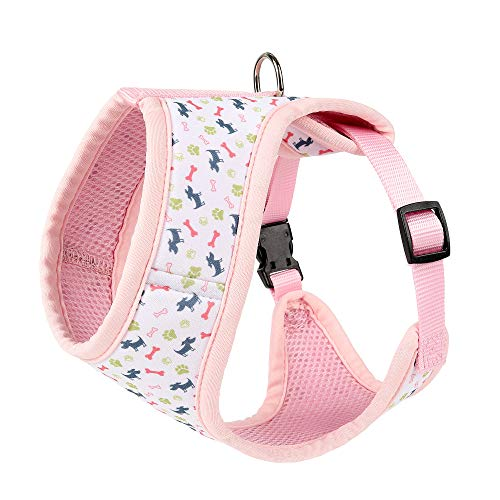 Mile High Life | Dog Cat Vest Harness | No Choke Pull | Easy Step-in | Breathable Soft Mesh Padding | Puppy Training Halter | Pink Bone | Medium Girth (15.7