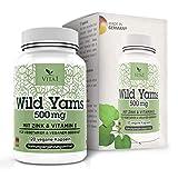 Cápsulas de extracto de raíz de Ñame Silvestre 500mg de VITA1 • 120 cápsulas (2 meses de suministro) • Vegano con Vitamina C y Zinc • Hecho en Alemania