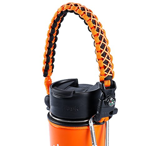 QeeLink Paracord Handle Compatible with Hydro Flask Wide Mouth Water Bottles - Paracord Carrier Strap Cord with Safety Ring & Carabiner & Compass & Fire Starter, 12oz - 64oz (Orange)