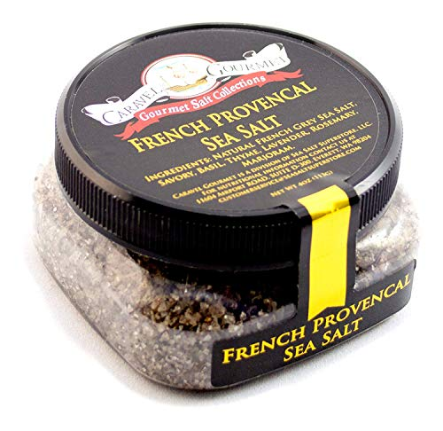 French Provencal Sea Salt - All-Natural French Grey Salt Blended with Savory, Basil, Thyme, Lavender, Rosemary, Marjoram - No Gluten, No MSG, Non-GMO - Cooking, Finishing Salt - 4 oz. Stackable Jar
