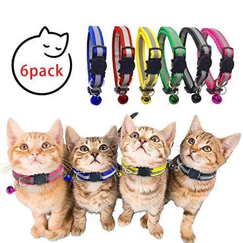 NETUME 6er-Pack Katzenhalsband - Reflektierende Katzen Halsbänder, Katzenhalsband Sicherheitsverschluss mit Glöckchen, Verstellbarer Schnellverschluss Sicheres Katzenhalsbänder mit Schnalle