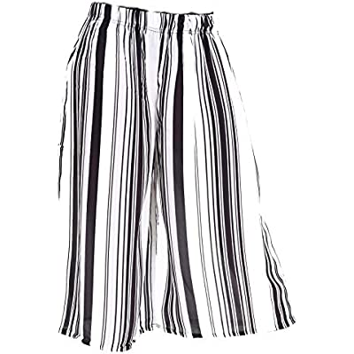 New Womens High Waisted Striped Print Elasticated Culottes Ladies Shorts Pants