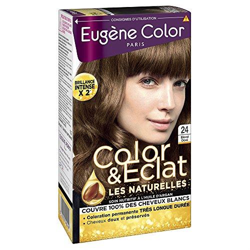 Eugène Color - Color & Eclat - Les Naturelles - N°24 Blond Doré - Coloration Permanente brillance Longue Durée à l'Huile d'Argan - Lot de 2