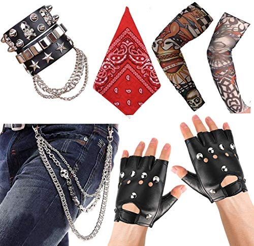 APERIL Punk Gothic Rocker Kit 70s 80s 90s Costume Accessories with Punk Gloves, Bandanas, Punk Trousers Skull Chain, Leather Bracelet and Arm Fake Tattoo Sleeves Cover for Men Women