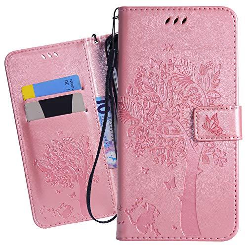Ougger Handyhülle für Nokia 7.1 Tasche Schutzhülle Weich Tasche Magnet Bumper TPU Silikon Beutel Cover Leder Hülle für Nokia 7.1 mit Visitenkartenhüllen, Katze und Baum (Roségold)