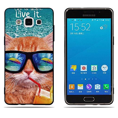 DIKAS Compatible with Hülle für Samsung Galaxy A5 A500, Schwarzer Rand Fashion 3D zeitgenössischen Chic TPU/Silikon Ultra Slim Fit Shockproof Flexible für Samsung Galaxy A5 A500 (5.0