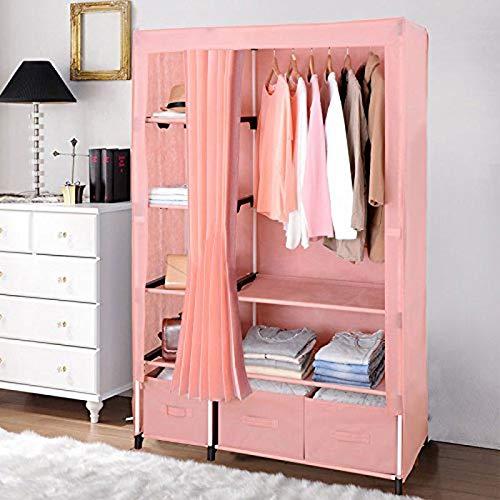 JOLLY Einzelne einfache Garderobe Stahlrohr verdickt und verdickt Stahlrahmen Faltgewebe (Farbe : Rosa)