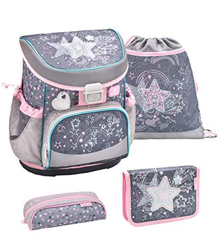 Belmil ergonomischer Schulranzen Set 4 -teilig für Mädchen 1, 2 Klasse Grundschule/Super Leicht 750-800 g/Brustgurt/Stern, Star/Grau, Grey, Rosa, Pink (405-33 Shine Like a Star)