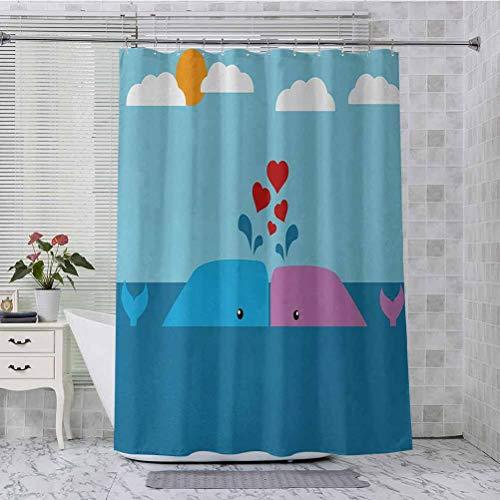 Aishare Store - Cortinas de ducha (182 x 183 cm), diseño de ballenas de San Valentín en el océano con sol y nubes