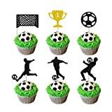Glorymoment Soccer Cupcake Toppers, Glitter Play Soccer Cake Topper World Cup Soccer Figures Goal for Soccer Theme Birthday Party Decor, Baby Shower Decorations (Pack of 24)