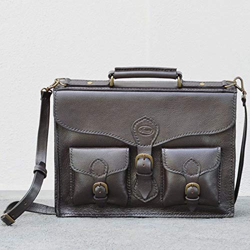 GodsowncountryIND - Mini bolso de cuero ejecutivo hecho a mano   bolsa de oficina de cuero puro   cosido a mano   toque clásico simple y elegante