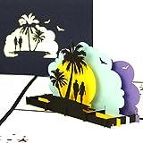 'Tarjeta de felicitación 'Sunset Beach–3d pop up Tarjetas como Bonos, tarjetas de cumpleaños, 3d–Tarjetas de viaje vacaciones & playa, viaje de bodas, Wellness Fin de semana–Viaje GG02& Hotel