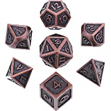 Hestya 7 Pieces Metal Dices Set DND Game Polyhedral Solid Metal D&D Dice Set with Storage Bag and Zinc Alloy with Enamel for Role Playing Game Dungeons and Dragons, Math Teaching (Red Bronze)
