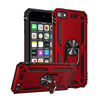 ULAK iPod Touch 7 Case iPod Touch 6 Case Hybrid Rugged Shockproof Cover with Built-in Kickstand for Apple iPod Touch 7th/6th/5th Generation  Red