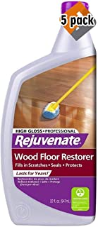 Rejuvenate Professional Wood Floor Restorer and Polish with Durable Finish Non-Toxic Easy Mop On Application High Gloss Finish 32oz (5 Pack)