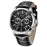 LIGE Reloj de pulsera para hombre, moderno, impermeable, deportivo, cronógrafo, analógico, de cuarzo, esfera de acero inoxidable, correa de piel