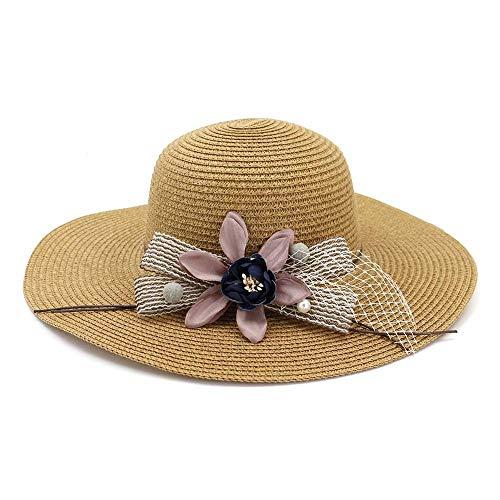 RZL Sommer Sun Hüte, Der Sonnenhut der zufälligen klassischen Frauen, Elegante Dame mit Kleid-Frühlings-Sommer-Küste im Freien schönen Blumenkopf (Color : Khaki)