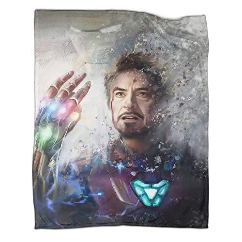 Mantas para sofá de cama, silla, decoración, Super Hero Iron Man Tony Stark manta de algodón premium para parejas, 80 x 100 cm