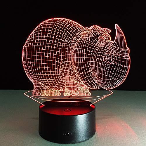 Nur 1 niedliches Nashorn Baby Nachtlicht Kreative kleine LED Tischlampe 3D Farbverlauf LED Beleuchtung Figur Figur Spielzeug Schlafzimmer Dekor