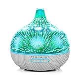 3D vidrio fuegos artificiales ultrasonido esencial Aromaterapia difusor, 400 ml capacidad humidificador aroma con 7 colores cambiado LED luz de estado de ánimo (base gris)