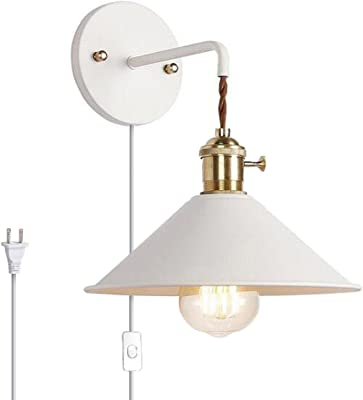 Kiven Nordic Wall Sconce With Cable Mains Plug And On Off Switch White Macaron Bedside Reading Light E26 Edison Copper Lamp Holder Aisle Lights Frosted Paint Body Corridor Lamp Bathroom Vanity Light